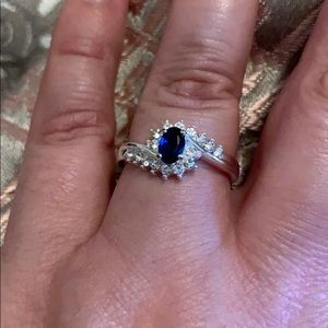 Created Sapphire & Cubic Ring - Costume Jewelry